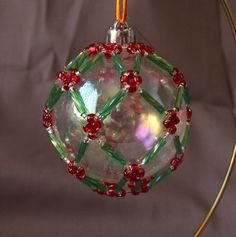 Items similar to holiday ornament with bugle design - clear with green/red sample on Etsy Beaded Christmas Ornaments, Snowflake Ornaments, Christmas Crafts, Christmas Bulbs, Vintage Christmas, Christmas Holidays, Christmas Ideas, Clear Plastic Ornaments, Glass Ornaments