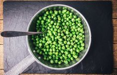Buy Green peas on silver frying pan by ivankmit on PhotoDune. Green peas on silver frying pan on black slate plate. Green Peas, Fries, Food Photography, Beans, Plates, Vegetables, Health, Photographs, Silver