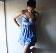 Blue Silk Satin Halter Dress by larimeloom on Etsy, €78,00