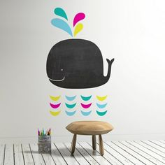 Kinderzimmer Wal Wandtattoo schwarze Tafel