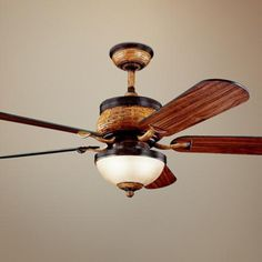 "52"" Kichler Novella Antique Leather Ceiling Fan with Light"