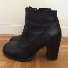Black leather ankle booties Worn about 15 times and in very good condition aside from the scratches on the heels shown in third photo. Heel is about 3.5 inches. Willing to accept reasonable offers. Steve Madden Shoes Heeled Boots