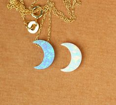 Moon necklace  opal moon necklace  crescent moon by BubuRuby