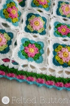 Felted Button - Colorful Crochet Patterns: Cottage Garden Blanket Crochet Pattern