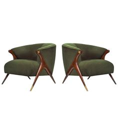 Pair of Modernist Karpen Lounge Chairs, circa 1950s | From a unique collection of antique and modern lounge chairs at https://www.1stdibs.com/furniture/seating/lounge-chairs/