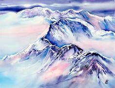 Mountains Above The Clouds No. 2 Fleece Blanket for Sale by Sabina Von Arx - Trend Zeichnungen Mdchen 2020 Mountain Designs, Mountain Art, Mountain Drawing, Mink Animal, Apocalypse Now, Cloud Drawing, 4 Tattoo, Canvas Art, Canvas Prints