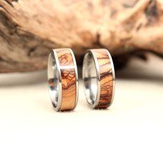 Pair of Wood and Titanium Rings Wood Rings Titanium Rings.