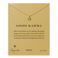 good karma lotus necklace, gold dipped - Dogeared