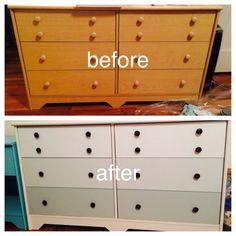 Painted Ikea dresser; new knobs