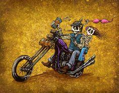 Day of the Dead Artist David Lozeau, Ride Free, Lowbrow Art, David Lozeau Dia de los Muertos Art