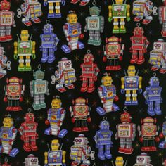 Robots Toys Dan Morris RJR Quilt Fabric by 1 2 yd Where The Toys Are 1710 2 | eBay