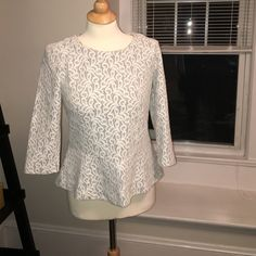 JCrew peplum top size small. JCrew peplum tops size small. White lace with a baby blue background. Zipper back. Super cute, gently worn, great condition. J. Crew Tops Blouses