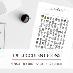 100 Succulent Icons - 5 mm dot grid hand-drawn