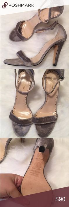 Kate spade grey velvet Strappy heels new These are the best kate spade shoes ever. Size 8 and are a super trendy style in the season favorite velvet. So versatile comes with dustbag. New kate spade Shoes Heels