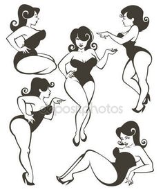 Download - Vector collection of plus size pin up girls — Stock Illustration #52605695