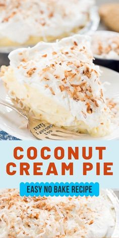 Easy No Bake Coconut Cream Pie - Crazy For Crust Easy Coconut Cream Pie is completely no-bake and uses pudding mix! This easy pie recipe has a Golden Oreo Crust and is simple with just 5 ingredients. It's the best coconut pie recipe! Best Coconut Pie Recipe, Coconut Recipes, Easy Coconut Cream Pie, Vegan Recipes, Cream Pie Recipes, Easy Baking Recipes, Kitchen Recipes, Limoncello, Lemon Bar