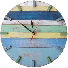 great, easy idea...all you need is a clock kit, wood scraps, leftover paint and small finish nails