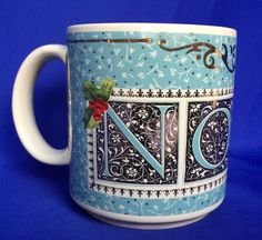 NOEL Mug by Charpente Michel & Co Christmas Pale Turqoise and Gold