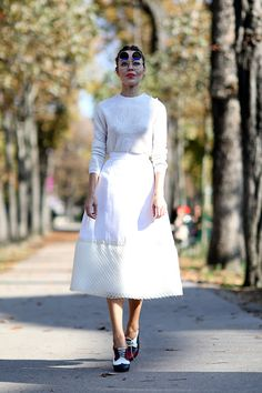 f29cfb96ae5 Pin for Later  The Best of Paris Fashion Week Street Style (Updated!) PFW  Street Style Day 8 The all-white look that got smart appeal from a set of  glasses.