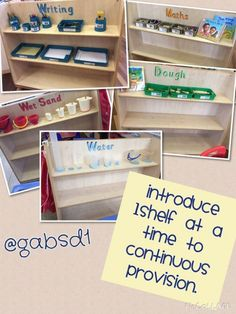 Continuous provision in early years 1 shelf added each week to train children To use resources correctly. Eyfs Classroom, Classroom Setup, Classroom Displays, Classroom Design, Year 1 Classroom Layout, Preschool Layout, Primary Classroom, Classroom Organisation, Classroom Management
