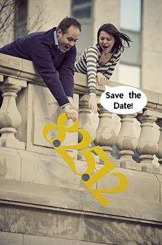 "Hahaha - this is awesome - a literal interpretation of a ""Save the date"" - too cute! #engagement"