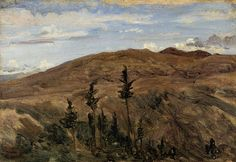 Mountains in Auvergne, circa - Jean-Baptiste-Camille Corot - The Athenaeum Oil Painting For Sale, Paintings For Sale, Theodore Rousseau, Barbizon School, Jean Baptiste, Mountain Paintings, Art Database, Landscape Paintings, Landscapes