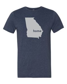 The Georgia Home T-Shirt is the perfect way to show off your state pride! The home tee has a look and feel you will love! The t-shirt is available in a unisex style or women's style!