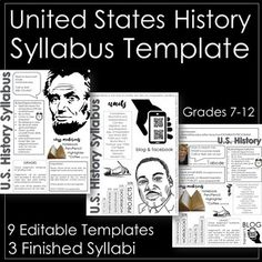 This resource includes nine editable template pages and three completed slides (to use as examples). These visually appealing templates include: Contact information Classroom Rules/Expectations Class Materials Grading Important Information and room for History Lessons For Kids, American History Lessons, History Teachers, Teaching History, History Activities, Social Studies Classroom, Classroom Rules, Teaching Social Studies, Classroom Ideas