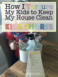 Do your kids have chores? I hear a lot: I can't keep my house clean because I have kids. While I totally get how kids are inevitably messy (mine STILL Chores For Kids By Age, Age Appropriate Chores For Kids, Kid Chores, Chore Checklist, Cleaning Checklist, Cleaning Schedules, Chore List, Cleaning Routines, Daily Schedules