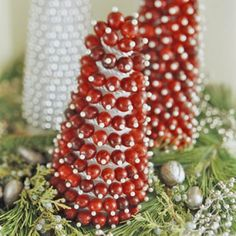 Using foam cones and cranberries, you can create an entire forest to display! Head over to Better Homes and Garden for the details — Christmas Cranberry Crafts.