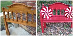 peppermint pattie headboard bench, diy, painted furniture, repurposing upcycling, woodworking projects, Before and After Headboard Bench