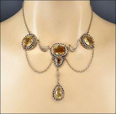 vintage edwardian jewelry | Edwardian Necklace Sterling Silver Citrine Pearl…