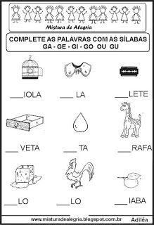 Sequência silábica lacunada letra G Portuguese Lessons, Gabriel, Activities, Education, Learning, School, Safari, Halloween, Letter G Activities