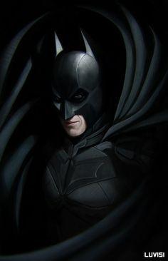 The Dark Knight - by DanLuVisiArt. Batman Dark, Im Batman, Batman The Dark Knight, Batman Arkham, Batman Stuff, Dc Comics, Joker Poster, The Dark Knight Trilogy, Batman Wallpaper