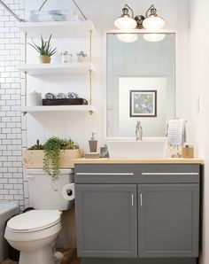make use of vertical space - shelves over the toilet More