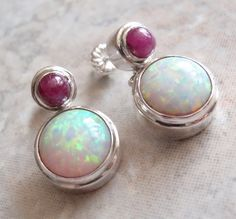 Ruby Opal Earrings Sterling Silver Pierced Post by cutterstone