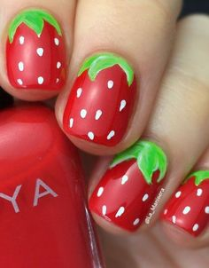 Adorable Strawberry Nail Design