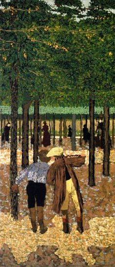 Edouard VUILLARD (1868-1940) : Les jardins publics - les deux écoliers.