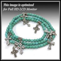 Turquoise colored Howlite Cross Charm Stretch (Bracelet, Necklace, Anklet, Boot Jeweley)