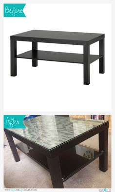 Ikea hack: Lack coffee table resurfaced using Smart Tiles from Home Depot and glass (optional).
