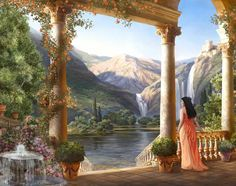 And so she would stand on her balcony, looking out at the world. So many adventu… - All About Balcony Fantasy World, Fantasy Art, Beautiful Artwork, Beautiful Places, Aesthetic Painting, Classical Art, Fantasy Landscape, Renaissance Art, Woman Painting