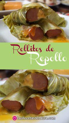 Receta sencilla para preparar rollitos de repollo rellenos de salchicha de pavo, fácil y rápido.