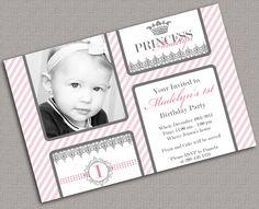 1st Birthday Invitations, Photo Cards, Princess, Pink, Grey - 2001. $15.00, via Etsy.