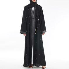 Abaya Maxi Dress Black Muslim dress with long sleeves and open front Studded Black Hijab, Black Abaya, Hijab Dress Party, Hijab Outfit, Modest Outfits, Casual Outfits, Hijab Fashion, Fashion Outfits, Maxi Cardigan