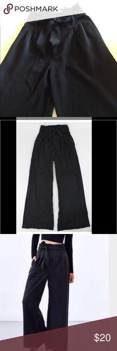 silence + noice wide leg pants size 4 black Urban outfitters Silence + Noise wide leg pants black great condition inseam 31 leg opening 16 Side Pockets silence + noise Pants Wide Leg