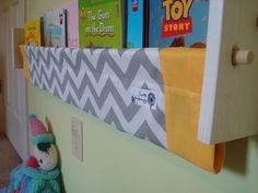 book sling -  Grey Chevron Zig Zag Gold Yellow Childrens Kids book storage shelf gender neutral nursery decor. $29.00, via Etsy.