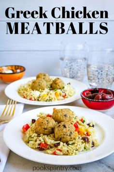 Greek chicken meatballs make a quick and easy delicious dinner. Ground chicken mixed with dried herbs feta cheese and breadcrumbs are rolled into little balls and baked in the oven. Quick Pasta Recipes, Duck Recipes, Beef Recipes, Real Food Recipes, Dinner Recipes, Healthy Recipes, Meatball Recipes, Easy Recipes, Healthy Food