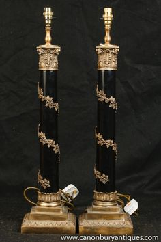 Photo of Pair Regency Corinthian Column Lamp Bases Table Lights Antique Table Lamps, Column Design, Corinthian, Acanthus, Lamp Bases, Light Table, Regency, Favorite Things, Pairs