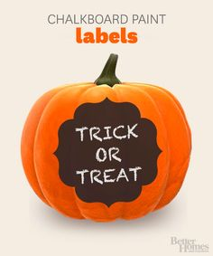 Write a fun Halloween message on your pumpkins with these chalkboard paint labels. Simply download, print and trace! Get them here: http://www.bhg.com/halloween/pumpkin-decorating/pumpkin-chalkboard-label-stencils/?socsrc=bhgpin092313labels