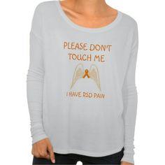 """Please don't touch me, I have RSD pain."" Longsleeved T-shirt. Angel wings, orange ribbon design. Zazzle http://www.zazzle.com/mixypixie #rsd #crps #nervember #apparel"